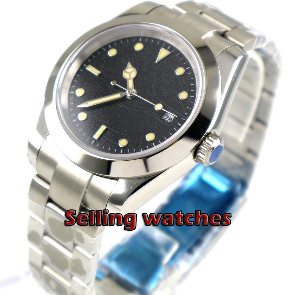 43mm bliger sterile black dial luminous mark sapphire glass automatic mens watch