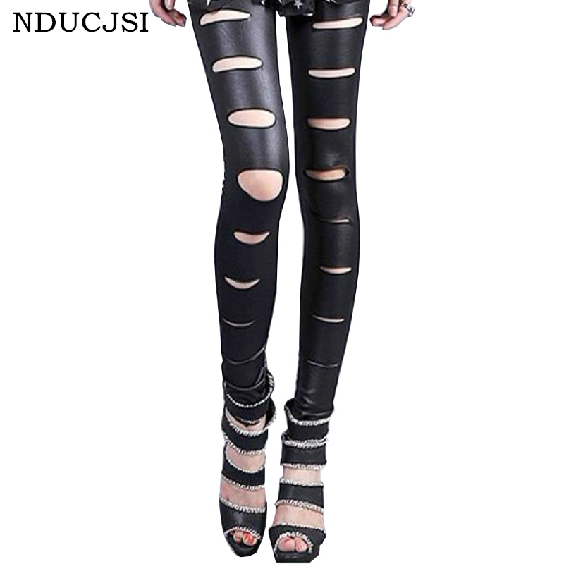 NDUCJSI Autumn Female Sexy Legging Stitching Tayt Cut Out Bandage Black Mid Waist Trousers 2017 New Women Faux Leather Leggins