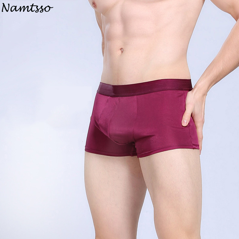 Business Preferred! Mens Silk Wine blue gray coffe Underwear U Convex Breathable Male Boxers From Shuzhou!