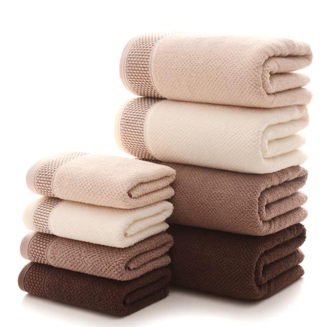 1pcs 100% Cotton Bath Towel Thick 70x140cm Solid Color Jacquard Sheared Beach Face Towels Quick Dry Home Bathroom Towel