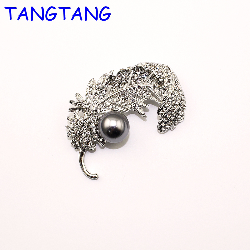 Item No. New Fashion Classic Simulated Grey Pearl Beaded Feather Rhodium Plating Elegant Women Vintage Leaf Brooch Pins Bh8170 Preventing Hairs From Graying And Helpful To Retain Complexion
