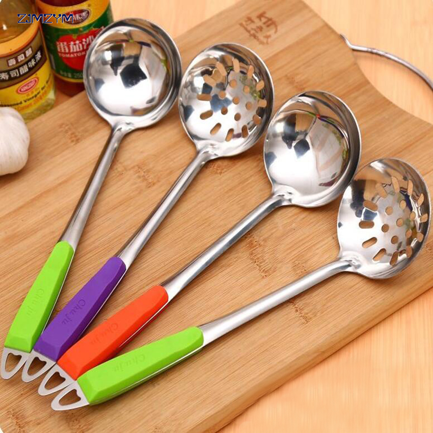 Colander Cooking Spoon Strainer Stainless Steel Hot Pot Soup Spoon Kitchen Tool