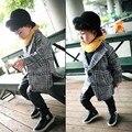 Новая Мода Весна Осень Мальчики Шерсть Пальто с отложным Воротником Шерсть пальто Для Мальчиков Плед С Длинным Рукавом Малыша Куртки для Ребенка мальчики