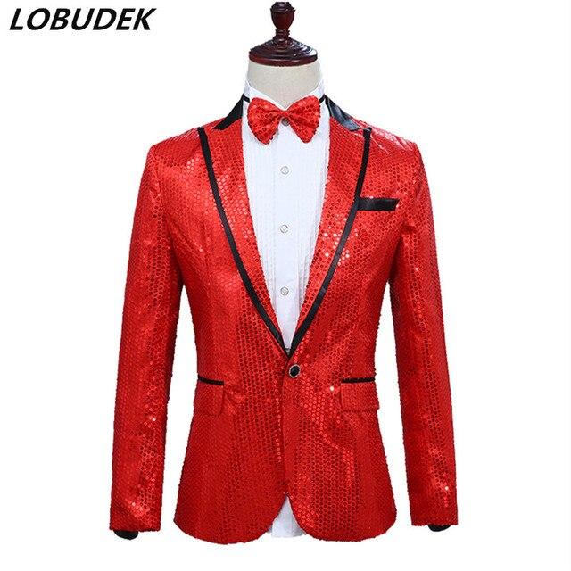 Sparkle Sequins Fabric Blazers Red Gold Blue Pink Purple Black Silver  Casual Coat Nightclub Men Singer cd10b75cb7e5
