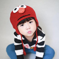 New Cute 3D Cartoon Kids Birds Hats  Handmade Knitted Crochet Baby Owl hat with ear flap Animal Cap Winter Hat for 2-5Yrs Child