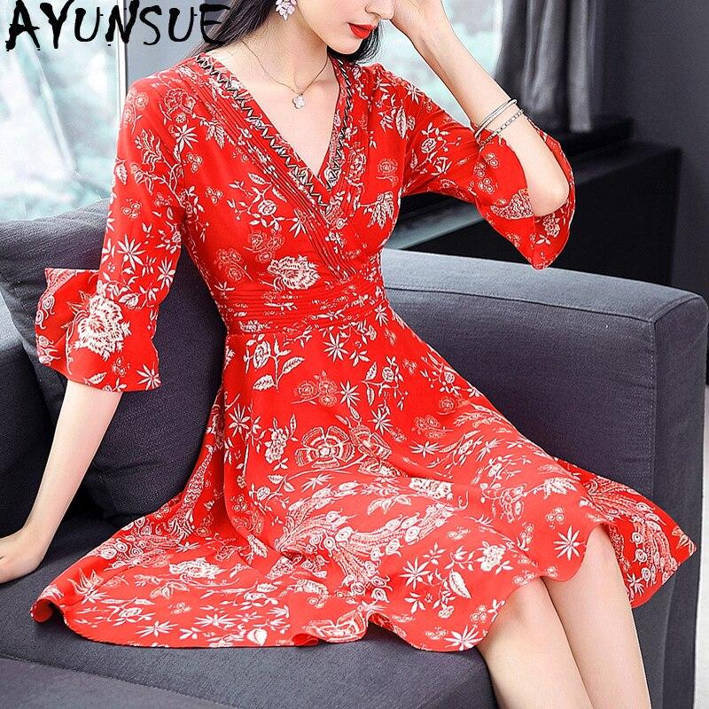 Summer Dress 2019 Silk Chiffon Boho Red Dress for Women Vintage Korean Floral Mini Dress Elegant Ladies Dresses VestidosMY2340