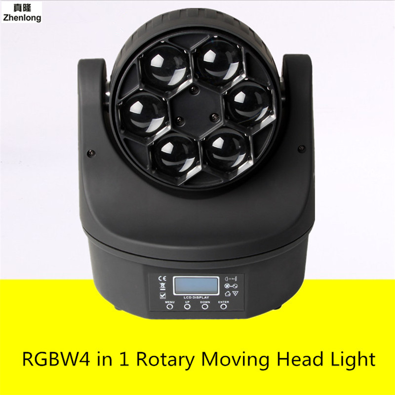 RGBW4 In 1 Rotary Moving Head Light 6 Leds Bee Eye Light Beam Lamp DMX512 Stage Led for Bar KTV Disco Nightclub Show DJ Spot Led