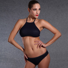 2016 Summer Styles New Triangle Sexy Crop top High Neck Bikinis Set Push Up Swimwear Women Swimsuit Beach bathing suit