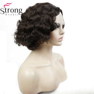 Image 5 - StrongBeauty Copper/Blond Flapper Hairstyle Short Curly Hair Womens Synthetic Capless Wigs