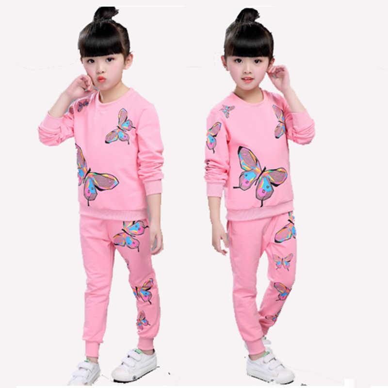 Розовая детская одежда для девочек Демисезонный с длинными рукавами с принтом бабочки спортивный костюм набор для Обувь для девочек для детей и подростков одежда свитер и Брюки для девочек Наборы для ухода за кожей