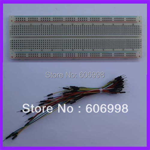 2pcs/lot 830 Tie-Point Breadboard + 65pcs Breadboard Jump Wire