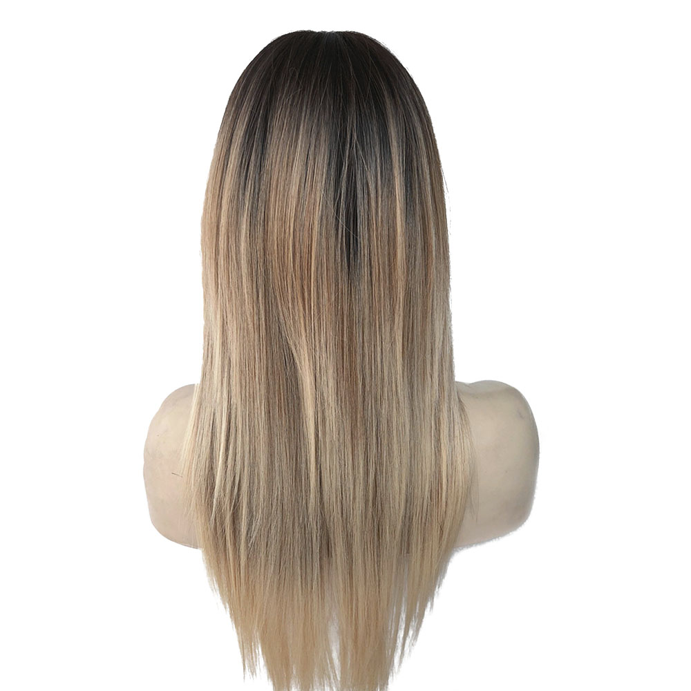 StrongBeauty Women 39 s Synthetic Wigs Hair Matte Ombre Long Straight Neat Bang Style Natura Wig Blonde in Synthetic None Lace Wigs from Hair Extensions amp Wigs
