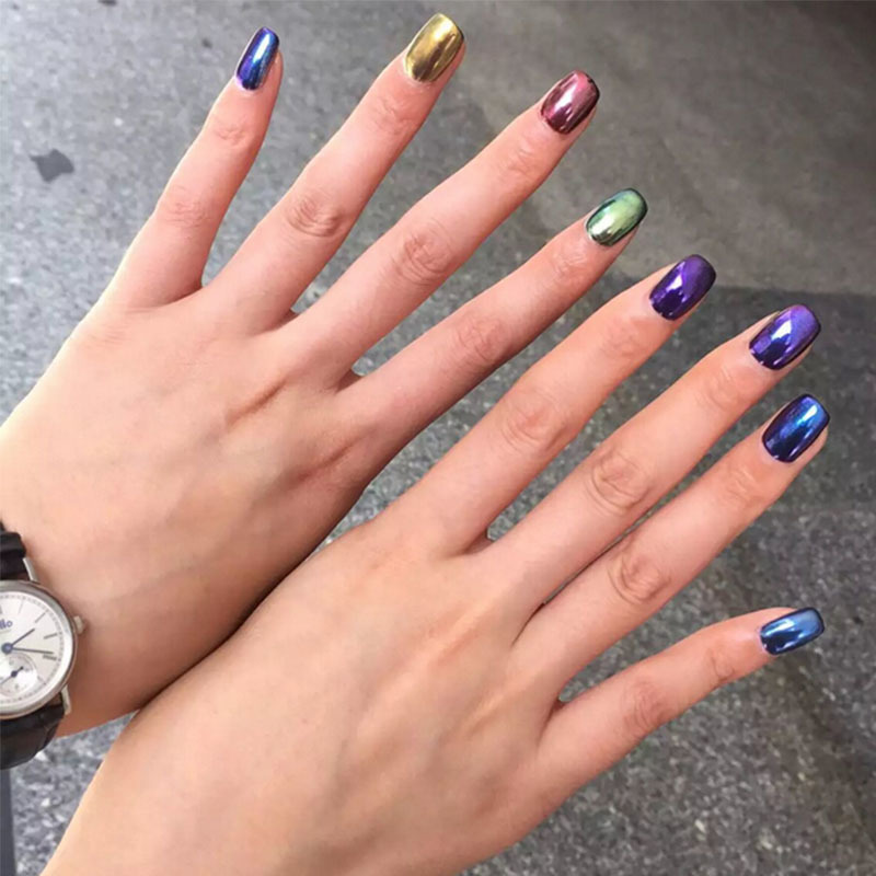 5ml Jar Mirror Chrome Powder Nail Glitters Effect Hot Tools For Art 12 Colors Set Chameleon Pigment In Stickers Decals From