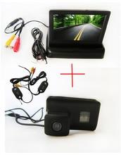 Wireless CCD Chip coches retrovisor de la cámara para Peugeot 206 207 306 307 308 406 407 5008 socio exporta tipi + 4.3 pulgadas del Monitor plegable