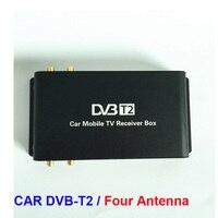 Nieuwste 4 Mobiliteit Chip Hoge snelheid 4 Tuner Auto DVB-T2 Tuner digitale Auto Tv Tuner MPEG4 Auto mobiele digitale DVB T2 Ontvanger