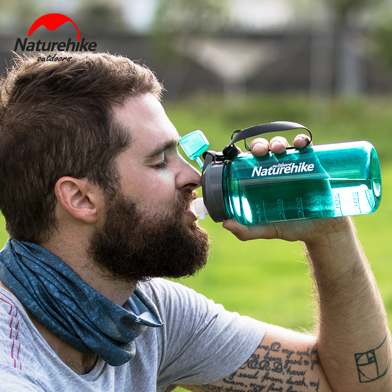 Naturehike Factory Store 750ml/1000ml Sports Water Bottle Plastic Outdoor Camping Hiking GYM Bicycle Bottle FDA Standard