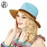 FS Szerokim Rondem Plaża Panama Hat Dla Kobiet Moda Lato Hit Kolor Dziewczyny Kapelusze Słomkowe Osłona Przeciwsłoneczna Z Big Heads kapelusze