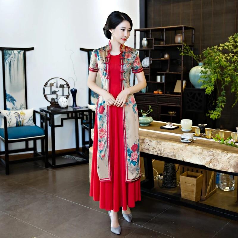 Spring Flowers Green Chinese Long Dress Cheongsam Qipao Dresses Women Retro NEW