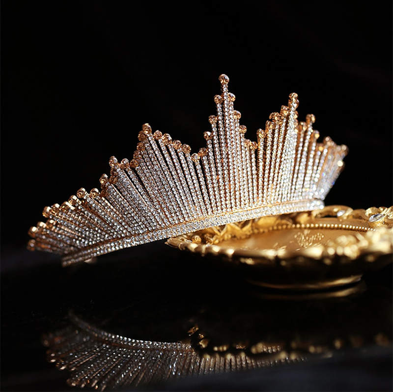 HIMSTORY Luxury Trendy Full Rhinestone Crystal Tiara Big Crown Wedding Bride Queen Headpiece Crown Champagne gold Hair Acces in Hair Jewelry from Jewelry Accessories
