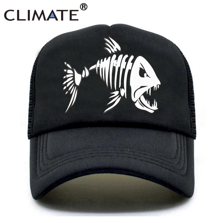 90d334be4d CLIMATE Men Fishbone Trucker Cap Fish Bone Fishing Hip Hop Baseball Caps  Summer Cool Men Youth