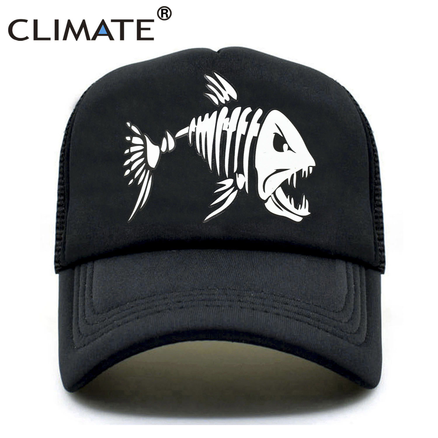 CLIMATE Men Fishbone Trucker   Cap   Fish Bone Fishing Hip Hop   Baseball     Caps   Summer Cool Men Youth Snapback Mesh   Cap   Hat For Men