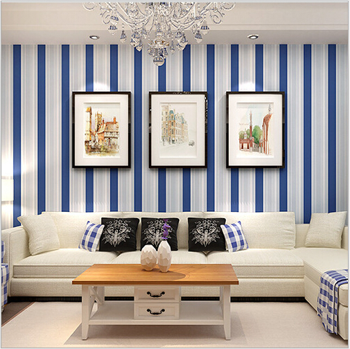 How To Correctly And Stylishly Wallpaper Your Living Room: Mediterranean Blue Striped Wallpaper Stylish All Match