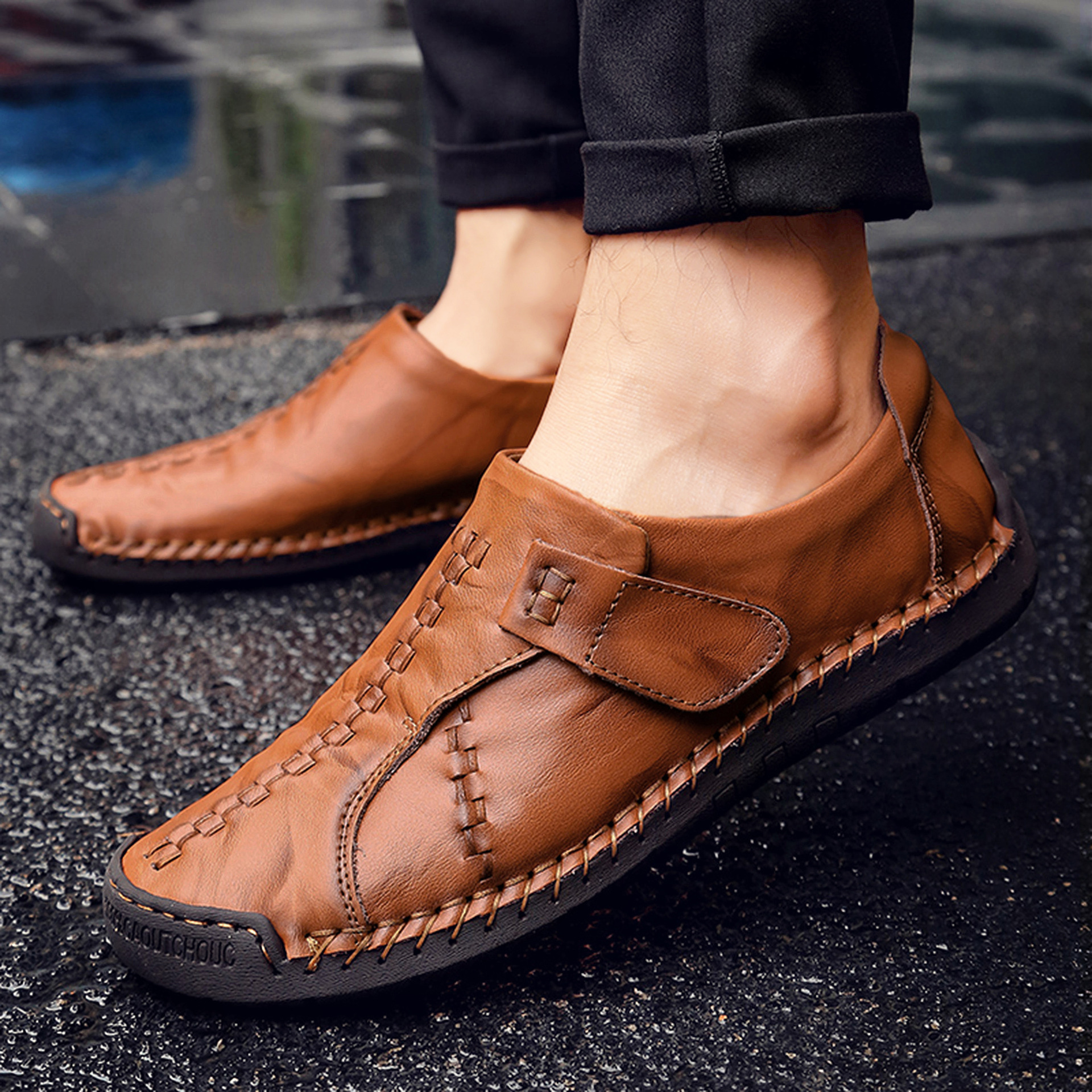 2019 Doug En Occasionnels Hommes À noir Cuir Nouveau yellow Main Conduite Split De brown Red Brown Mocassin Haute Grande Printemps Mode Size2 Chaussures La Qualité AAqrO
