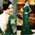 Esmeralda verde do laço da sereia mãe dos vestidos De noiva Plus Size V Neck mangas compridas tribunal trem vestidos De noite Vestido De Noche
