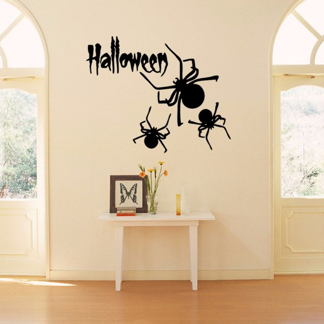 Scary wall stickers black carved spider bar window glass diy stitching simple decorative insects shop