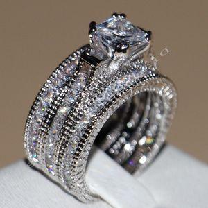 Image 1 - Victoria Wieck anneaux de mariage pour femmes, bijoux Vintage, 14kt, en or blanc, rempli de AAA CZ, 3 pièces pour amour, Size5 11
