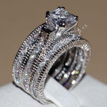 Victoria wieck princesa vintage jóias 14kt ouro branco preenchido aaa cz 3 pçs casamento feminino anéis de banda para o amor Size5 11 choucong