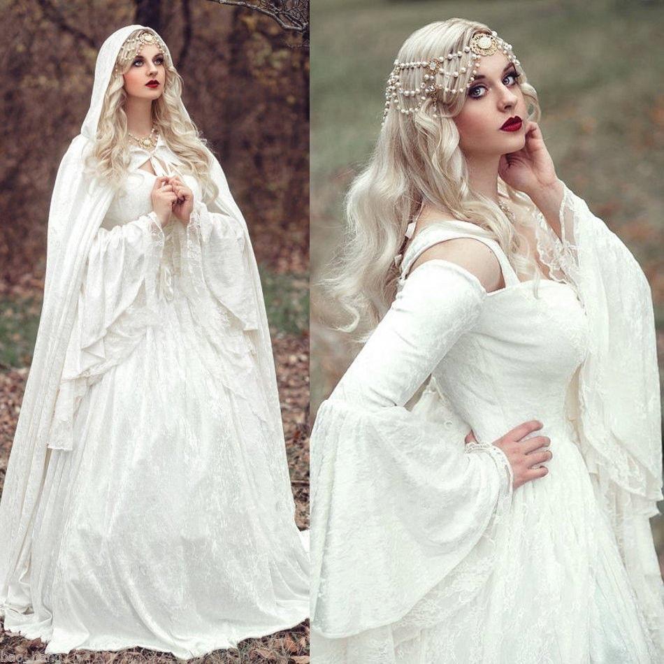 MZYCH04 Vintage Renaissance White Wedding Dress Celtic Medieval ...
