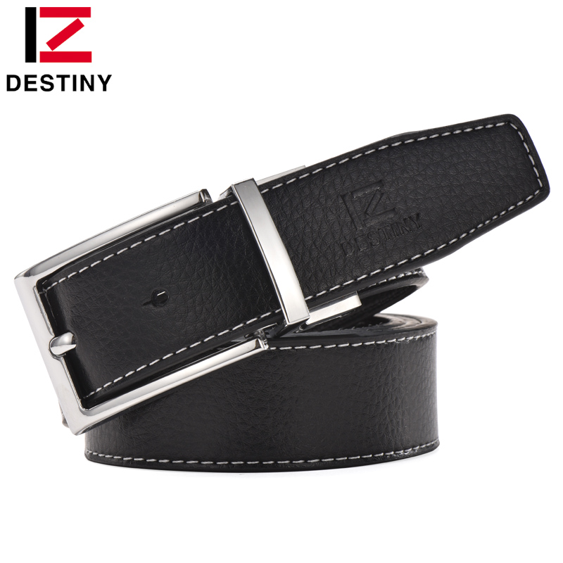 DESTINY Genuine Leather Belt Men Luxury Famous Brand Designer High Quality Silver Gold Belts Wedding Strap Male White Blue Cinto
