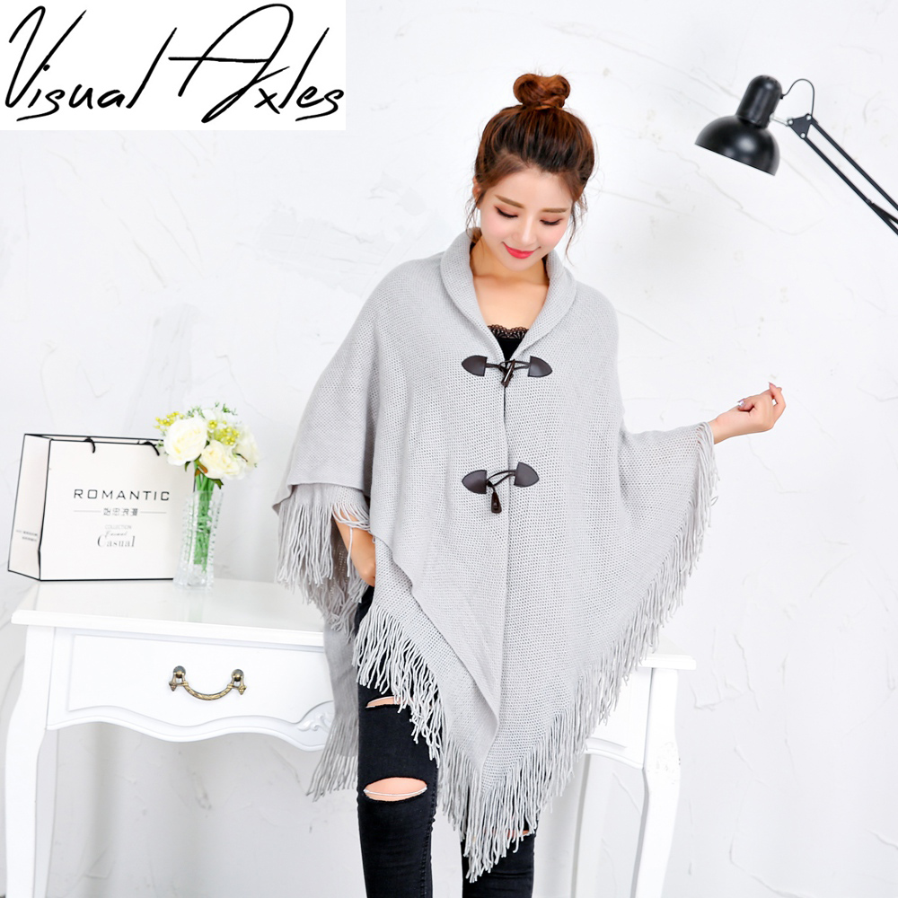 2017 Winter Kimono Cardigan Women Loose Long Sleeveless Knitted Poncho Sweater Solid Color Magic Shawls Cardigans With Button