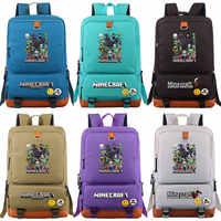 Fashion Hot Games MineCraft Cartoon Boy Girl School bag Women Bagpack Teenagers Patchwork Canvas Men Student Laptop Backpack