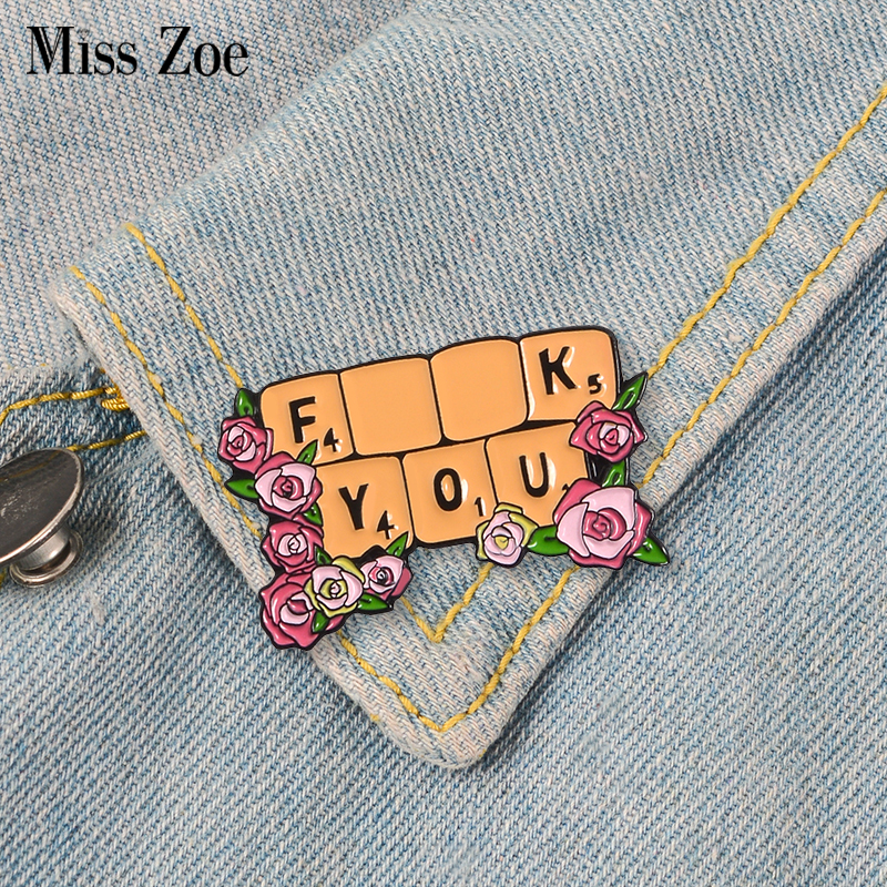 Rose Flowers Keyboard Enamel Pins Attitude Badges Custom Brooches Bag Clothes Lapel Pin Cartoon Plant Jewelry Gift For Cool Guys