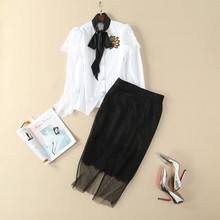 European and American women's wear in 2018 The new spring clothing Long sleeve lace embroidered shirt Skirt suits