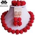 De moda de Nigeria Boda perlas africanas joyería conjunto Plástico Cristal rojo collar de perlas de Joyería Nupcial Del Envío libre YJ-058