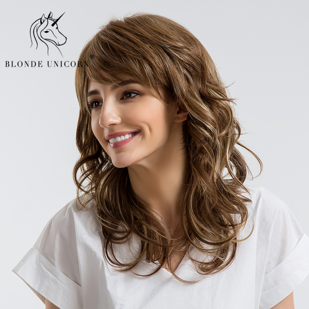 BLONDE UNICORN 18 Inch 30% Human Hair Wigs Sexy Long Wavy Curly Brown Head Wigs With Side Bangs For Women Free Shipping