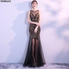 eee9684f2 Vestido De velada YIDINGZS Oro Negro lentejuelas cordón vestidos noche  largo baile Sexy vestido De fiesta
