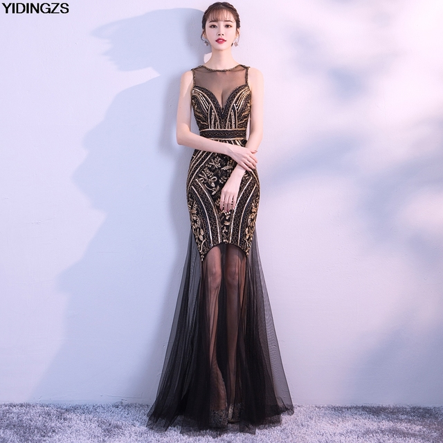 YIDINGZS Black Gold Sequins Beading Long Evening Dresses Sexy Prom Party Dress New Arrive