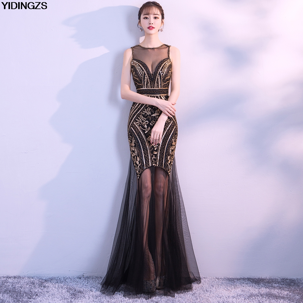 YIDINGZS Black Gold Sequins Beading Long   Evening     Dresses   Sexy Prom Party   Dress   2019 New Arrive