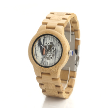 BOBO BIRD H18 Naturally Hypoallergenic Minimalism Luxury Simplicity Skeleton Bamboo Wooden Watches With All Wood Bamboo Straps