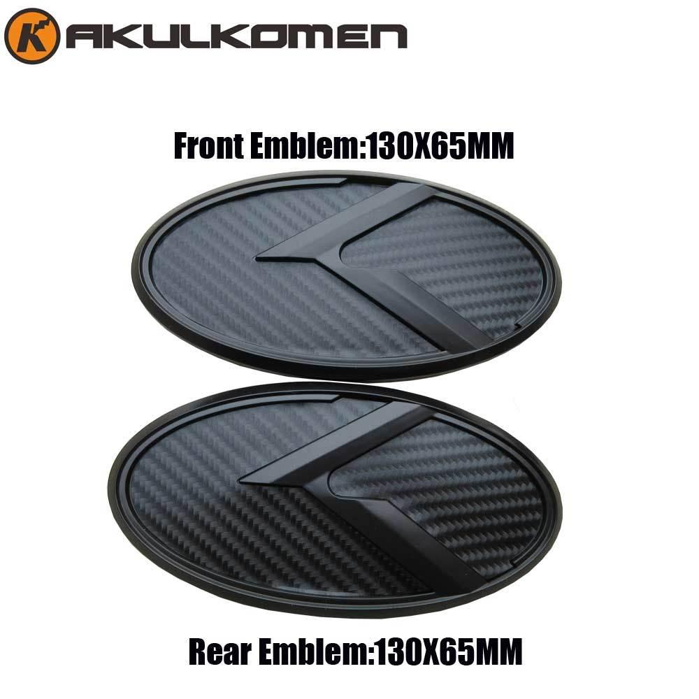 Car K Logo 3D Black Carbon Fiber Red Emblem Set Front & Rear Steering Wheel cap For KIA Forte Ceed Cerato Koup 2009-2013 yandex w205 amg style carbon fiber rear spoiler for benz w205 c200 c250 c300 c350 4door 2015 2016 2017