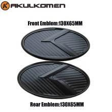 Car K Logo 3D Black Carbon Fiber Red Emblem Set Front & Rear Steering Wheel cap For KIA Forte Ceed Cerato Koup 2009-2013