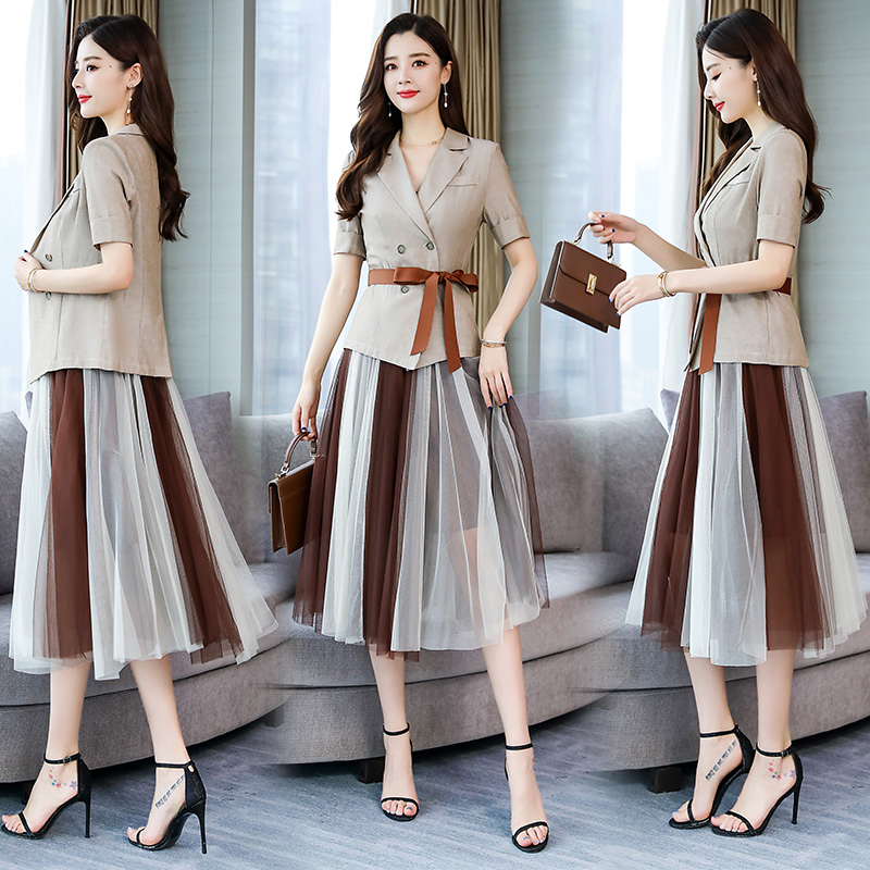 YASUGUOJI New 2019 Summer Short-sleeve Double Breasted Blazer With Mesh Pleated Skirt And Suit For Women Two Piece Skirt Suits