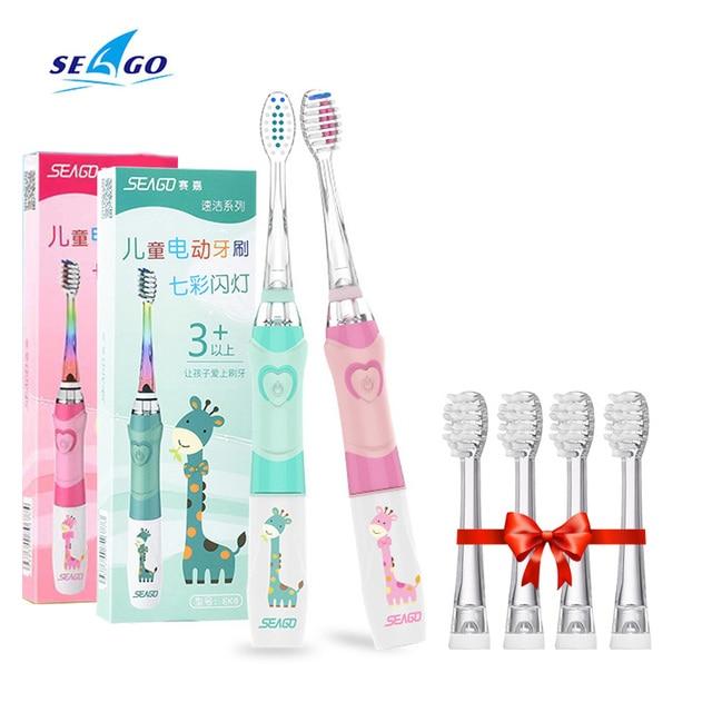 Chico es cepillo de dientes eléctrico de batería inteligente temporizador LED luz de Color cepillo de dientes cepillo de cerdas suaves cabeza bebé Oral dientes blanco
