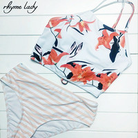 Rhyme Lady Bikini Women Swimwear High Waist Girl Bathing Suit Expose Shoulder Halter Strap Swimsuit Print
