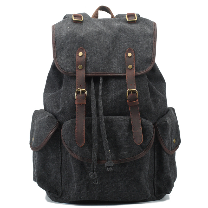 509c7fda5 Men's Women's Vintage Canvas Cowhide Cotton Rucksack Mountaineering Book  Travel Military Backpack School Bag-in Backpacks from Luggage & Bags on ...