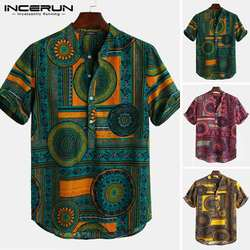 INCERUN принт в этническом стиле рубашка для мужчин стоячий воротник короткий рукав топы 2019 повседневные мужские Гавайские рубашки уличная
